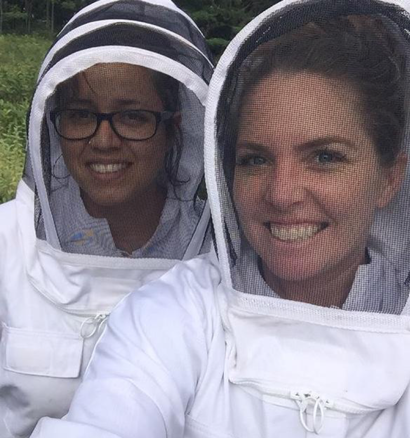 Tiki's Grill & Bar Staff enjoying their bee suits. Selfie time.